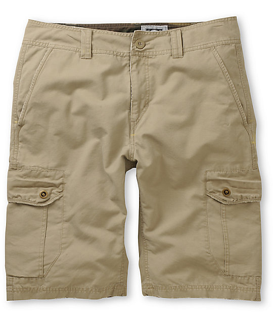 Free World Head Honcho Bedford Khaki Cargo Shorts