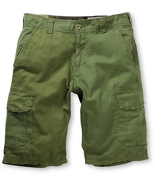 Free World Head Honcho Olive Cargo Shorts