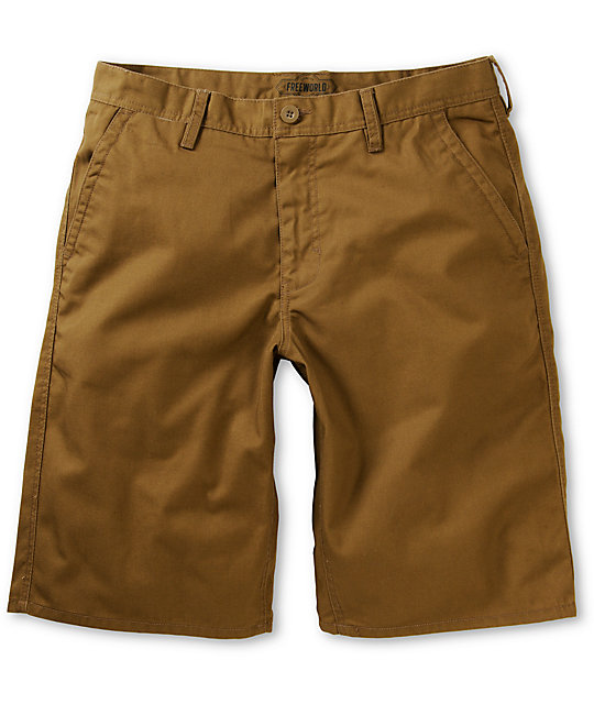Free World Hooligan Dark Khaki Chino Shorts at Zumiez : PDP
