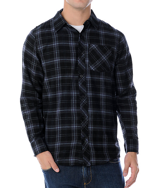 Free World Idle Black & Purple Flannel Shirt