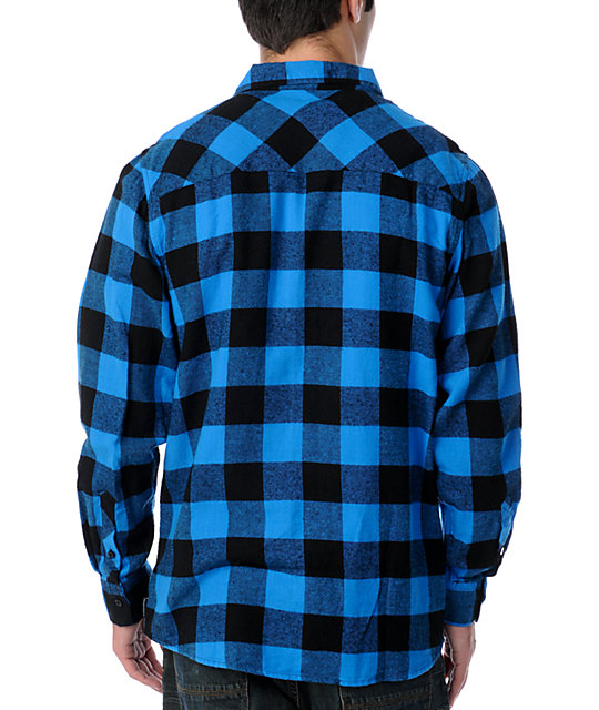 Free World Jasper Black & Blue Flannel Shirt