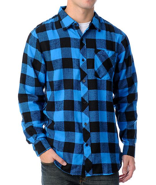 free world jasper black blue flannel shirt