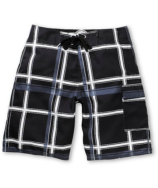 Free World Laguna Boa Black Plaid 21 Board Shorts