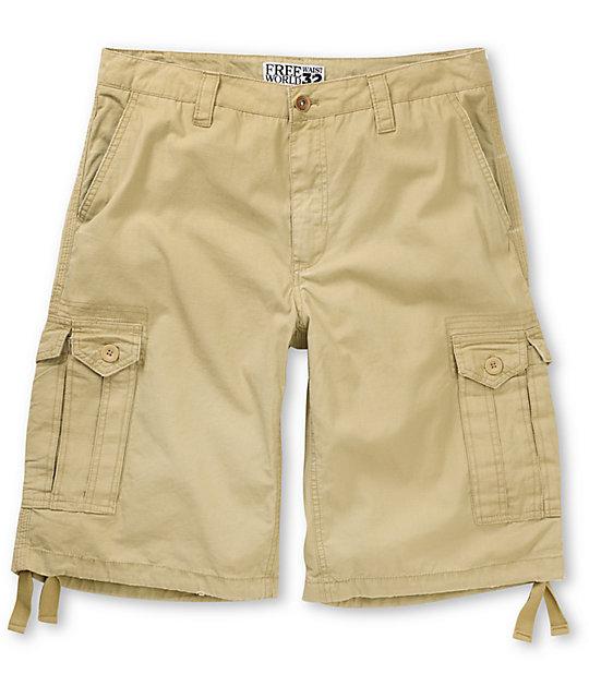 Free World Manchester Khaki Cargo Shorts