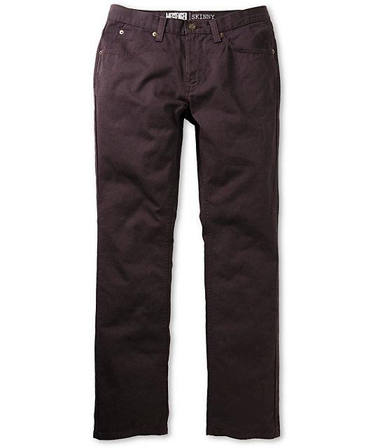Free World Messenger 5 Pocket Twill Black Cherry Pants