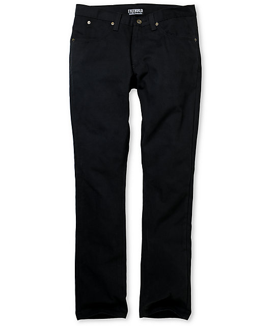 Free World Messenger Black Canvas Skinny Pants