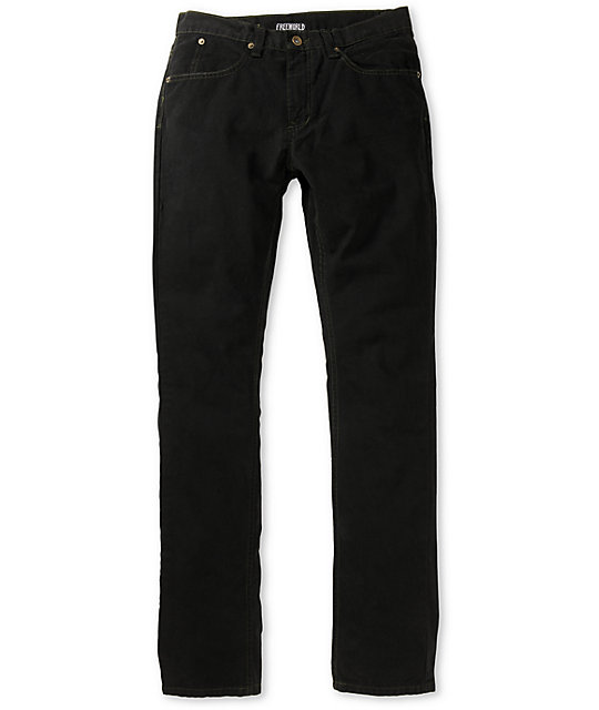 Free World Messenger Black Canvas Twill Skinny Pants