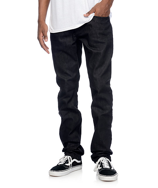 Free World Messenger Black Raw Skinny Fit Jeans