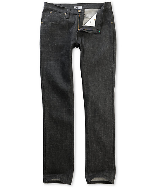 Free World Messenger Black Raw Skinny Jeans
