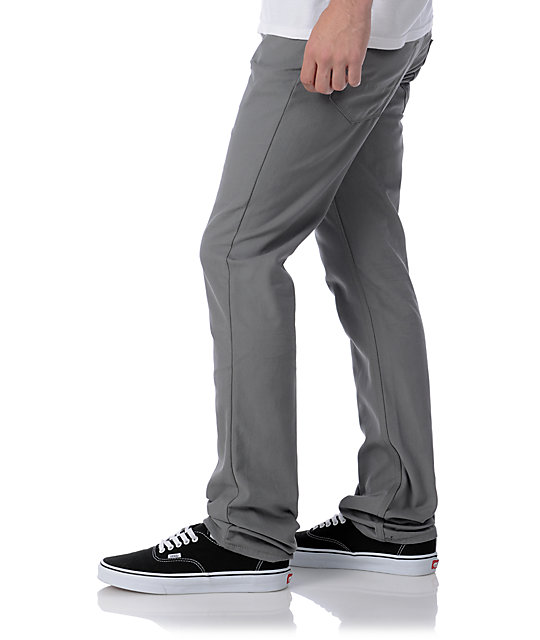 Free World Messenger Grey Canvas Skinny Pants