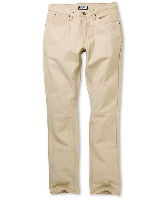 Free World Messenger Khaki Canvas Skinny Pants