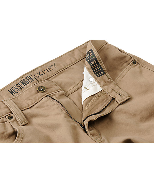 Free World Messenger Khaki Skinny Fit Twill Pants