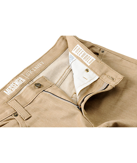 Free World Messenger Khaki Skinny Jeans