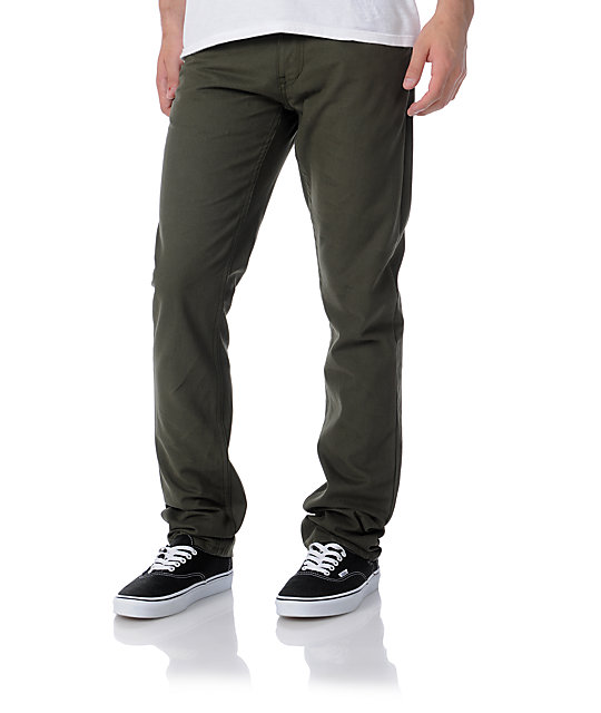 Free World Messenger Olive Canvas Twill Skinny Pants