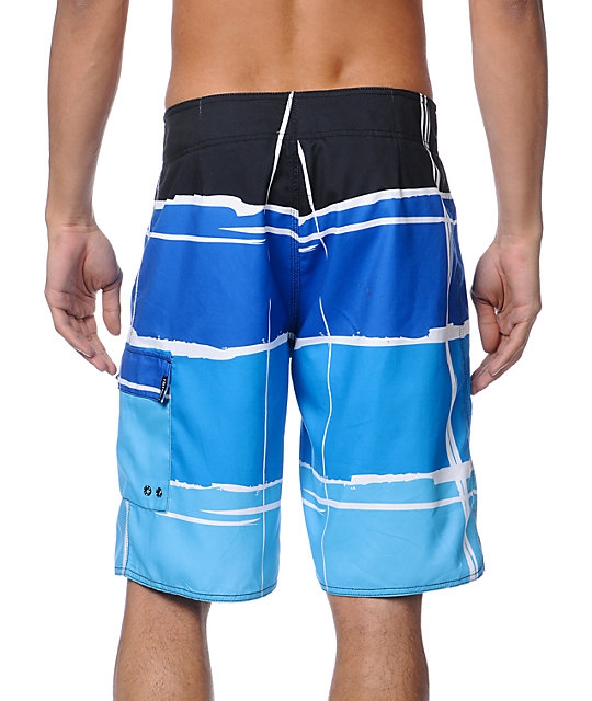 Free World Migrate Blue Plaid 20.75 Board Shorts