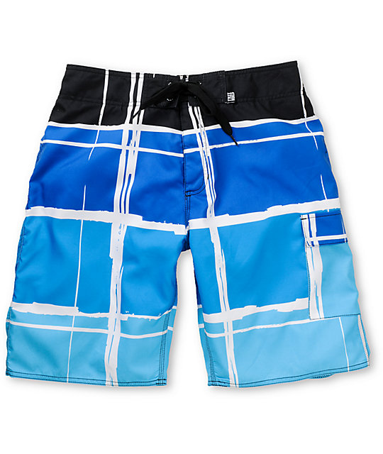 Free World Migrate Blue Plaid 20.75 Board Shorts