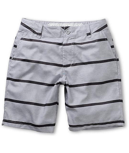 Free World Newport Grey Stripe Hybrid Shorts