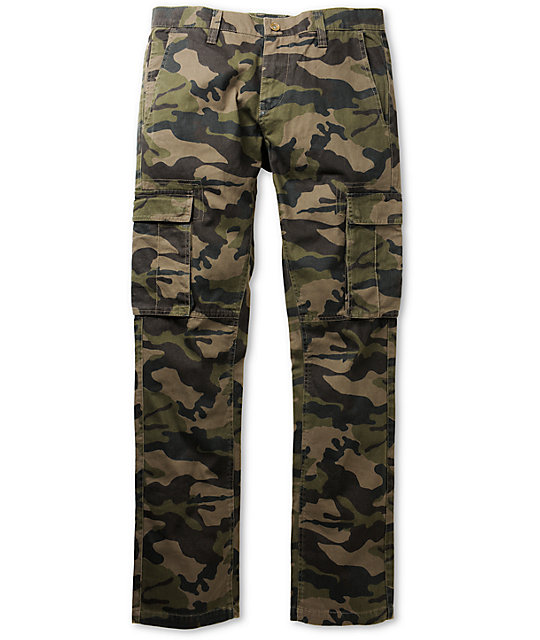 Free World Night Train Dark Khaki Camo Regular Fit Cargo Pants at ...