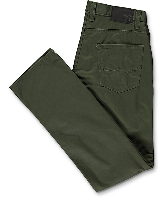 Free World Night Train Regular Fit Olive Twill Pants