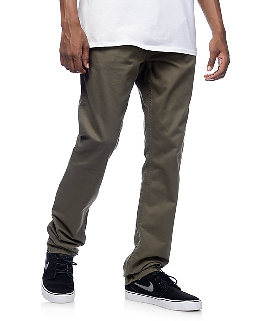 Free World Night Train Regular Fit Olive Twill Pants at Zumiez : PDP