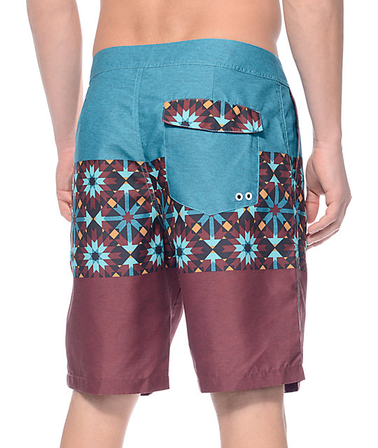 "Free World Paddle Burgundy and Teal 20""  Board Shorts"