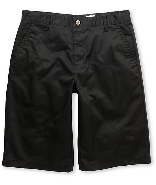 Free World Part Time Black Chino Shorts