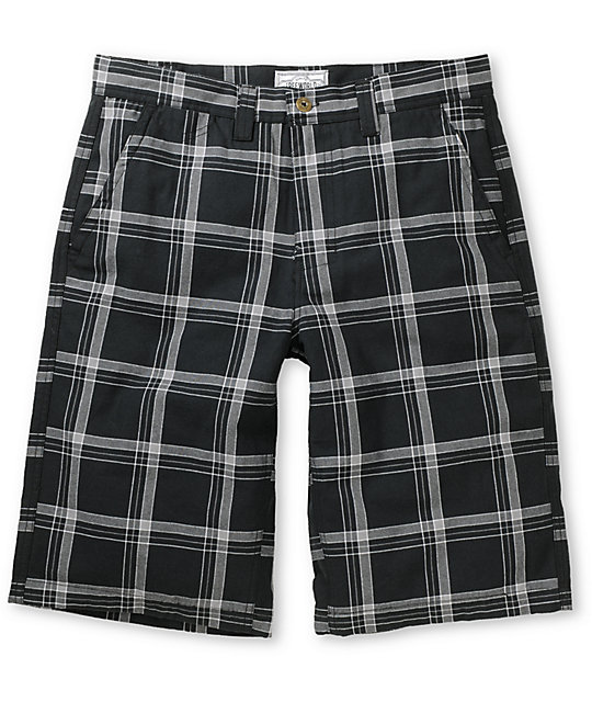 Free World Party On Black Plaid Twill Shorts