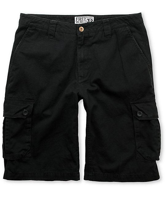 Free World Possum Black Cargo Shorts