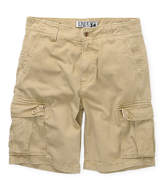 Free World Private Khaki Cargo Shorts
