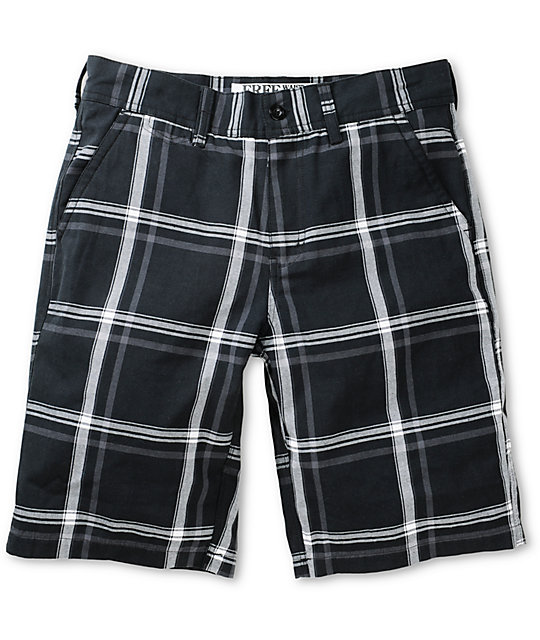 Free World Riley Black Plaid Chino Shorts