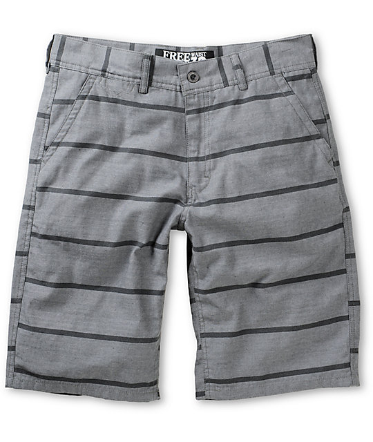 Free World Riley Horizontal Stripe Light Grey Shorts