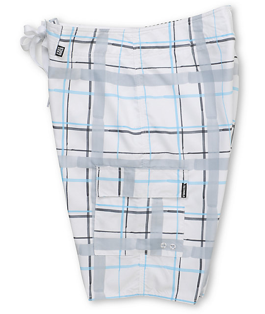 Free World Ripple Blue & White Plaid 21.25 Board Shorts