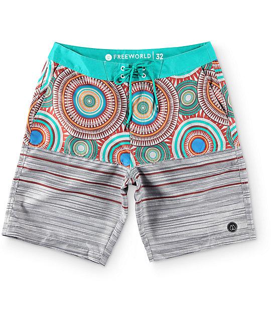 """Free World Sands Circle Grey and Teal 20""""  Board Shorts"""