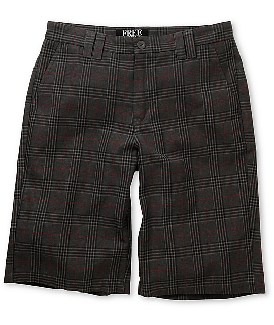 Free World Scotsmen Grey Plaid Shorts
