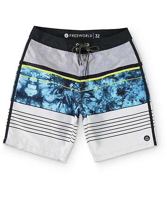 "Free World Tides Blue, Grey, and Lime Stripe 20""  Board Shorts"