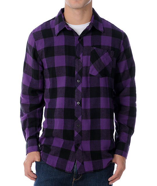Free World Triumph Black & Purple Flannel Shirt