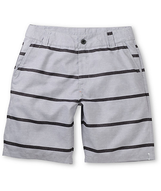 Free World Tubeular Grey Striped Hybrid Shorts