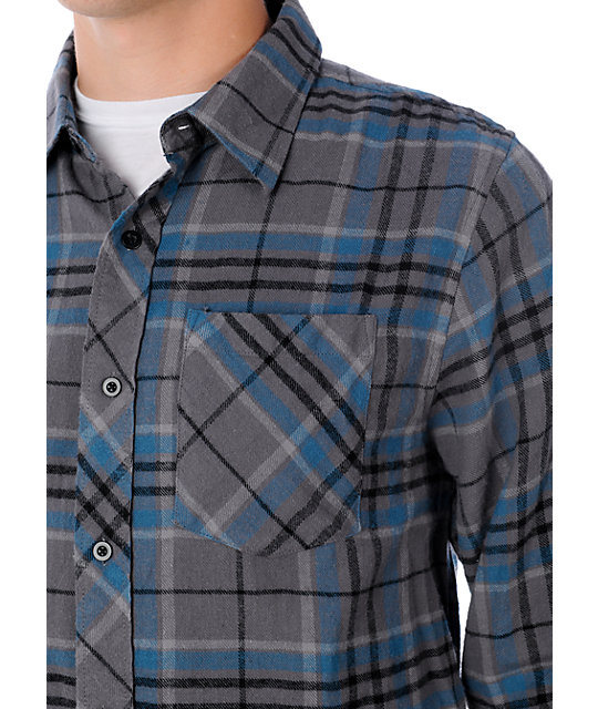Free World Upstart Grey & Blue Flannel Shirt