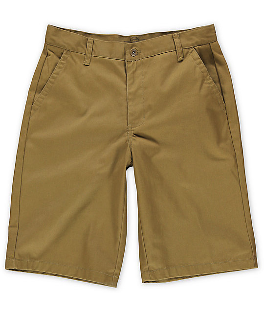 Free World Venice Dark Khaki Chino Shorts