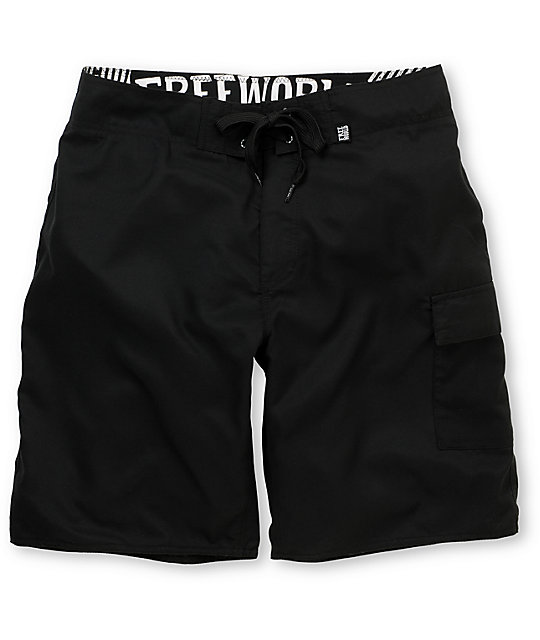 Free World Villain Black 21.25 Board Shorts