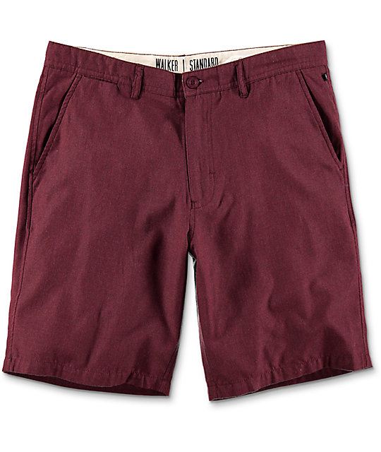 Free World Walker Heather Burgundy Chino Shorts