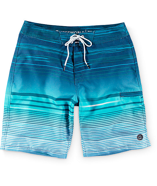 "Free World Wave Lines Blue 20""  Board Shorts"