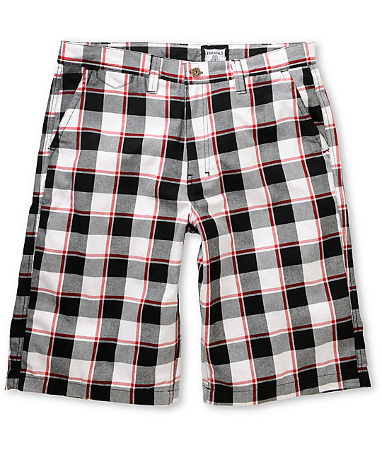 Free World Yung Black & Red Plaid Shorts