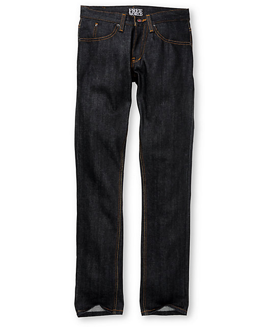 Free World Zeke Fit Raw Wash Super Skinny Jeans