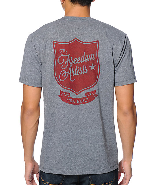 Freedom Artists Army Red Heather Grey T-Shirt