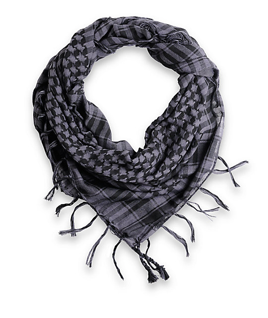 Fringe Check Black & Grey Square Scarf