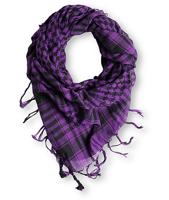 Fringe Check Black & Purple Square Scarf