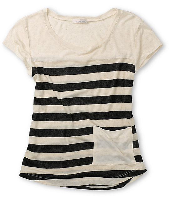 Funky Story Low Pocket Cream & Charcoal T-Shirt
