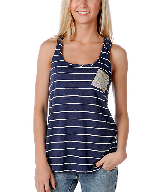 Funky Story Wide Navy Stripe Tank Top