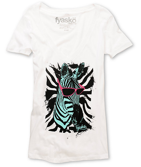 Fyasko Zebra Looks Fresh White V-Neck T-Shirt